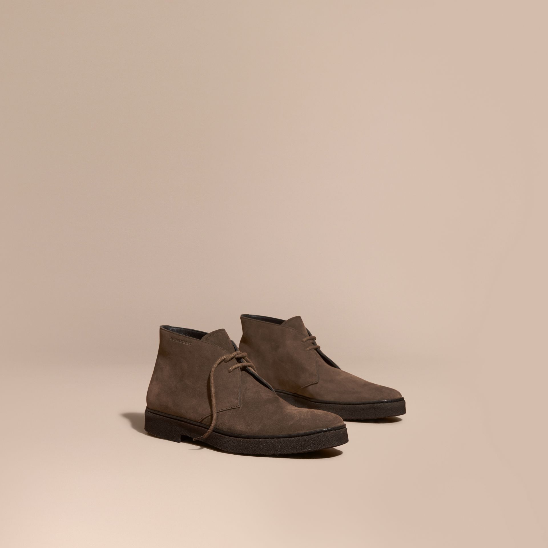 Crepe Sole Suede Desert Boots in Khaki - gallery image 1