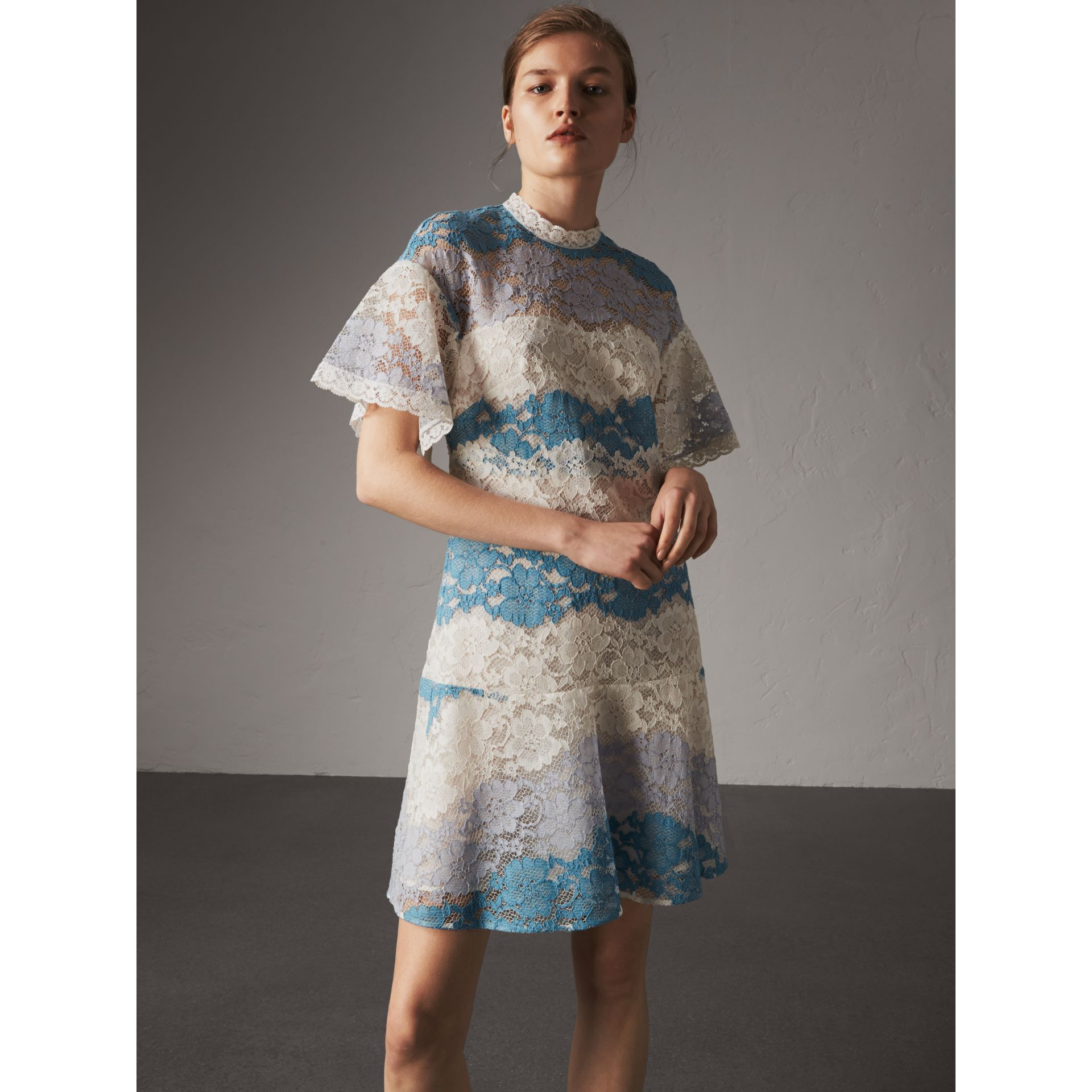 Floral Lace Dress with Flutter Sleeves in Slate Blue - Women | Burberry - gallery image 5