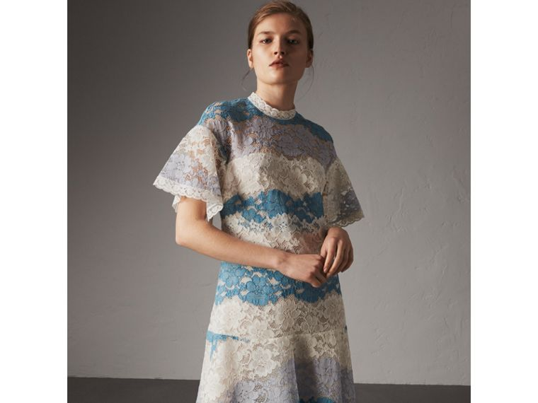 Floral Lace Dress with Flutter Sleeves in Slate Blue - Women | Burberry - cell image 4
