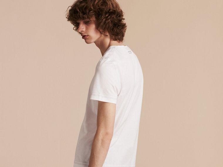 White Topstitch Detail Cotton T-shirt White - cell image 1