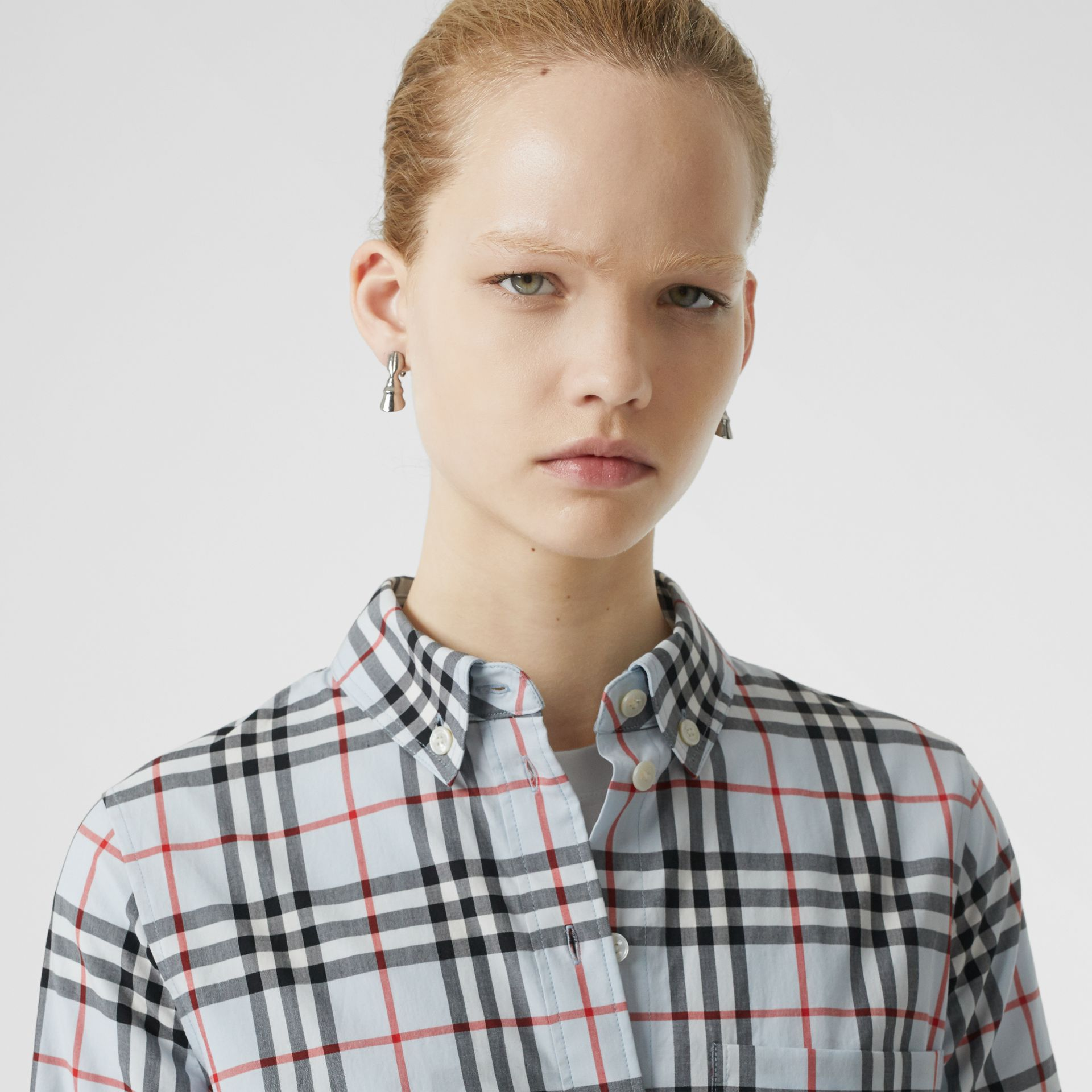 Button-down Collar Vintage Check Cotton Shirt in Pale Blue - Women | Burberry - gallery image 1