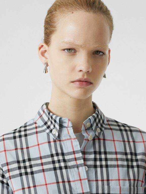 Button-down Collar Vintage Check Cotton Shirt in Pale Blue - Women | Burberry - cell image 1