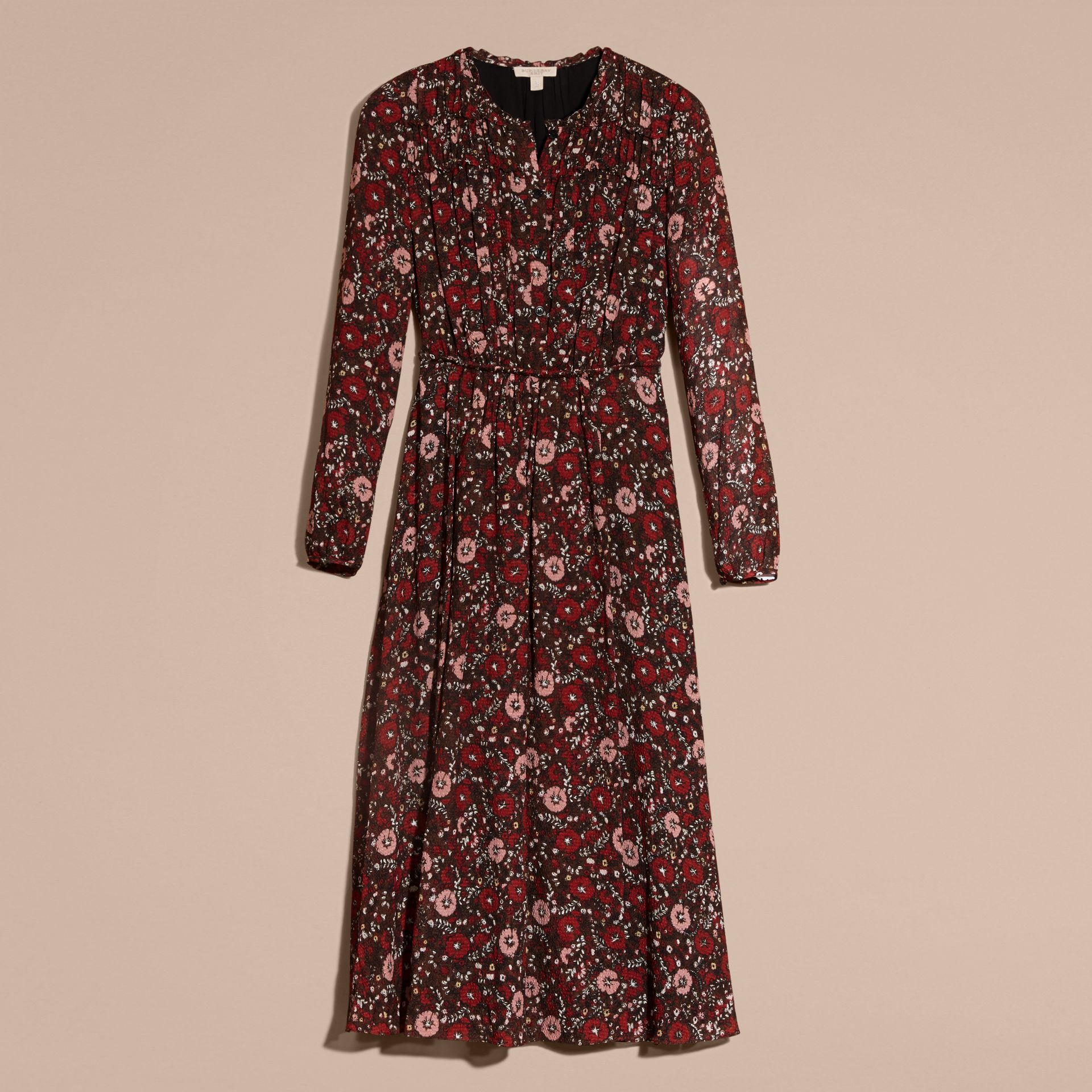 Carmine red Floral Silk Georgette Dress - gallery image 4
