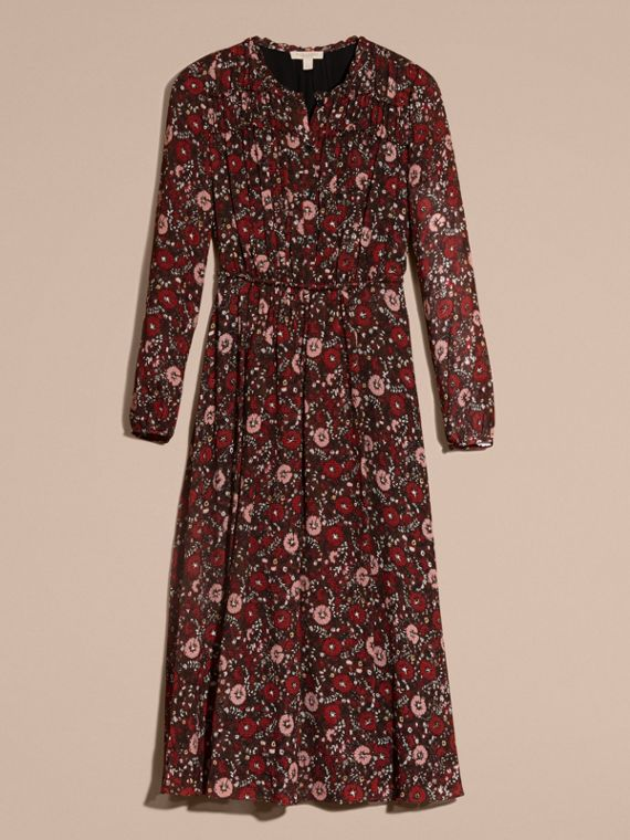 Carmine red Floral Silk Georgette Dress - cell image 3