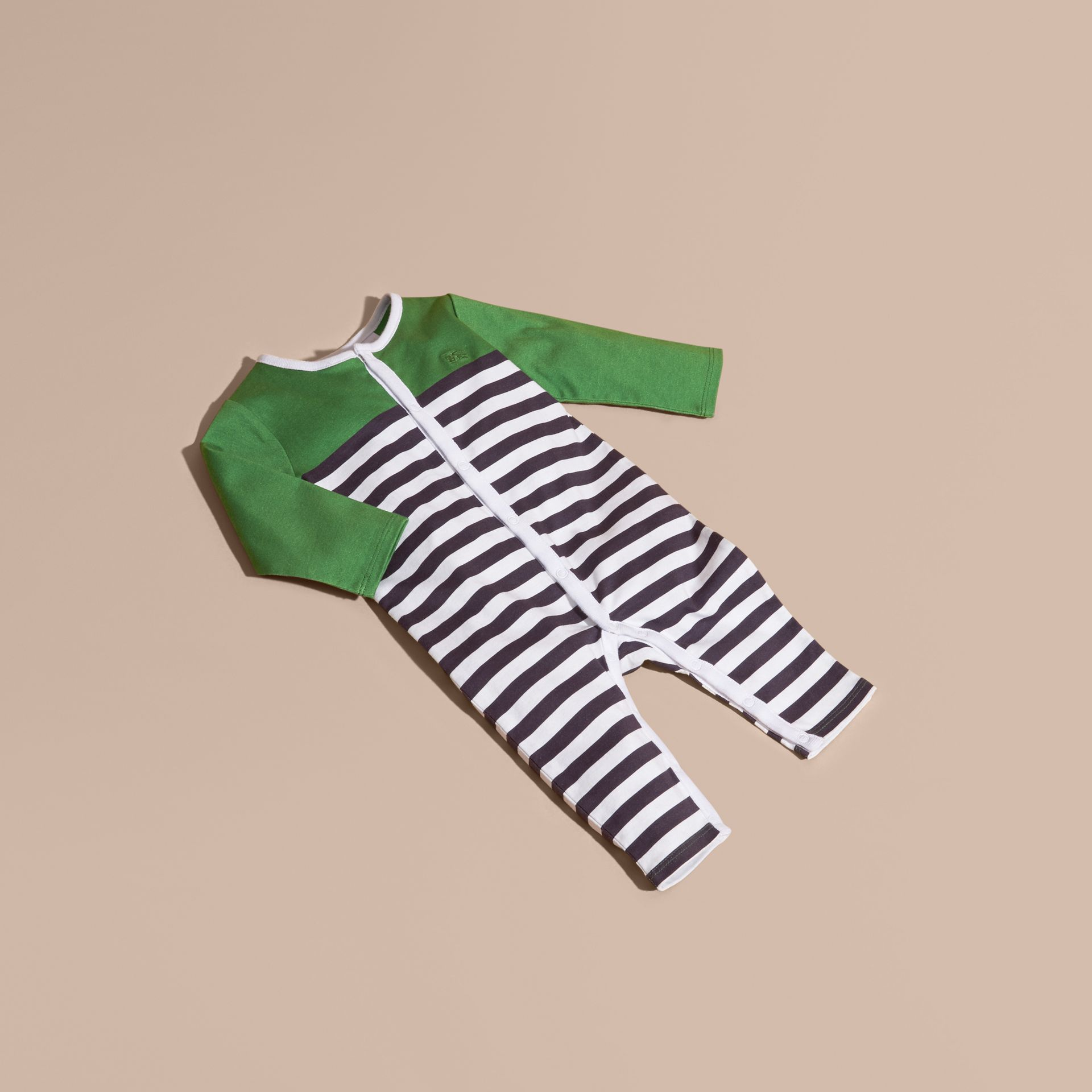 Bright fern green Colour Block Striped Cotton Jumpsuit - gallery image 1