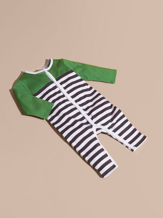 Colour Block Striped Cotton Jumpsuit