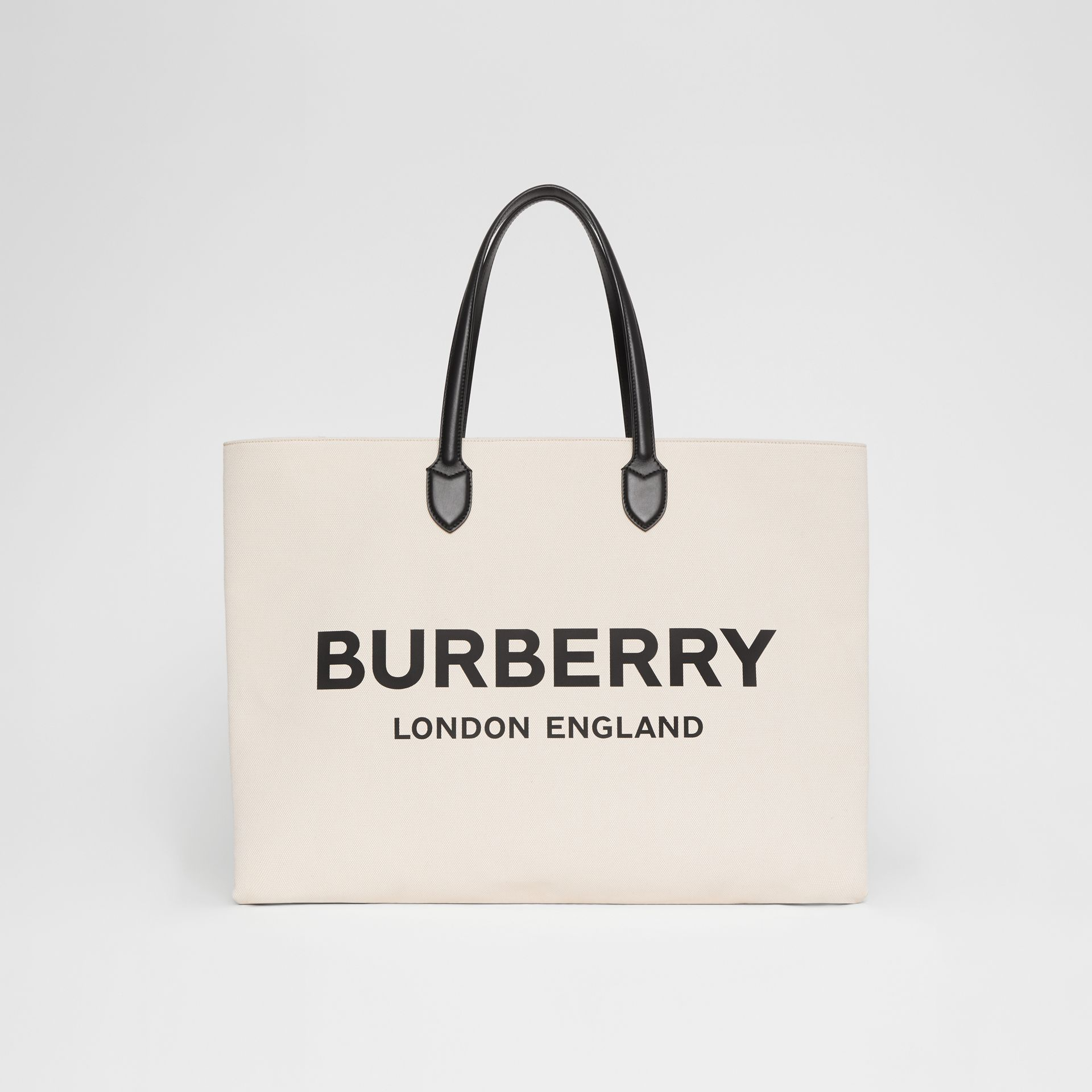 Logo Detail Cotton Blend Tote in Natural | Burberry - gallery image 0