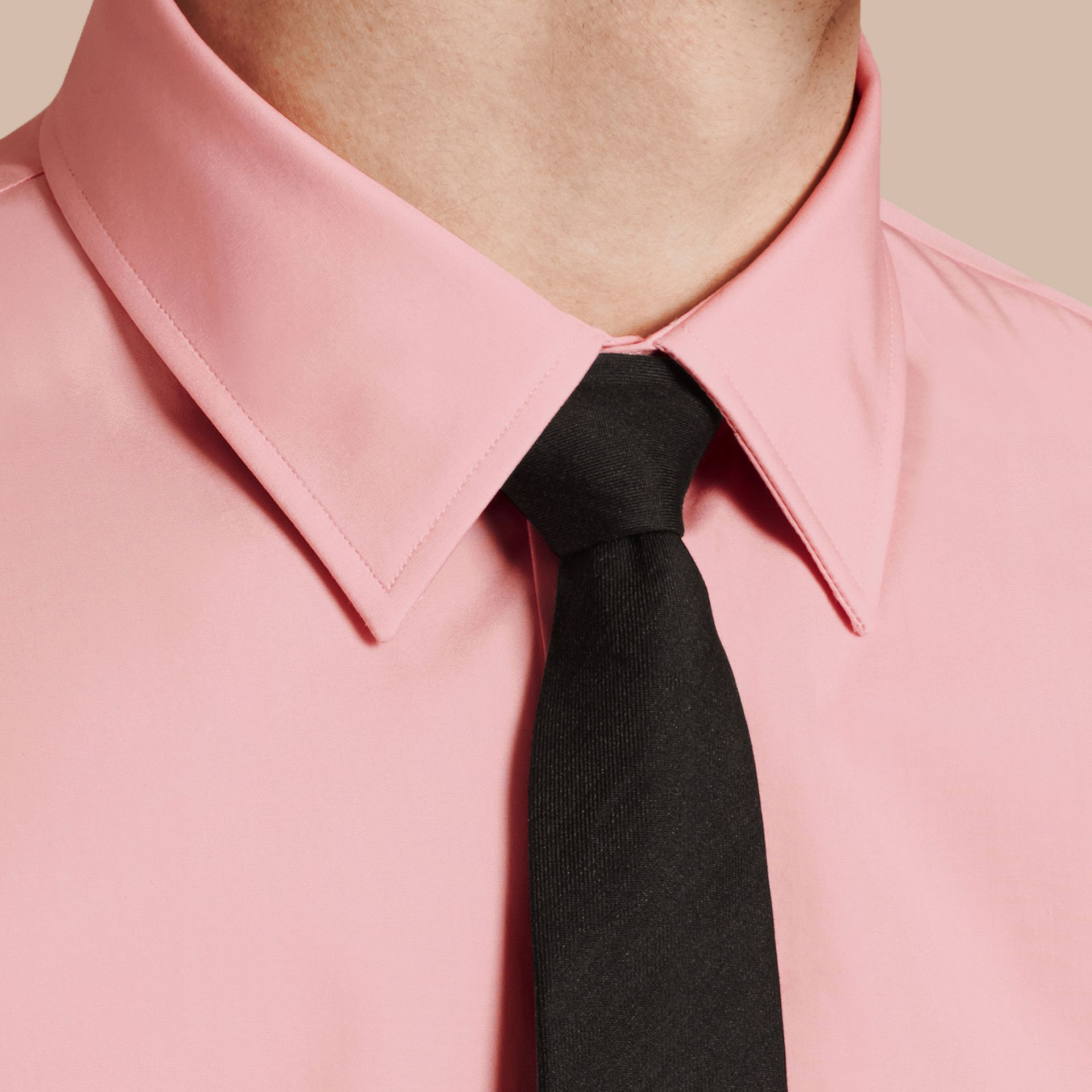 Slim Fit Cotton Poplin Shirt in City Pink - gallery image 6