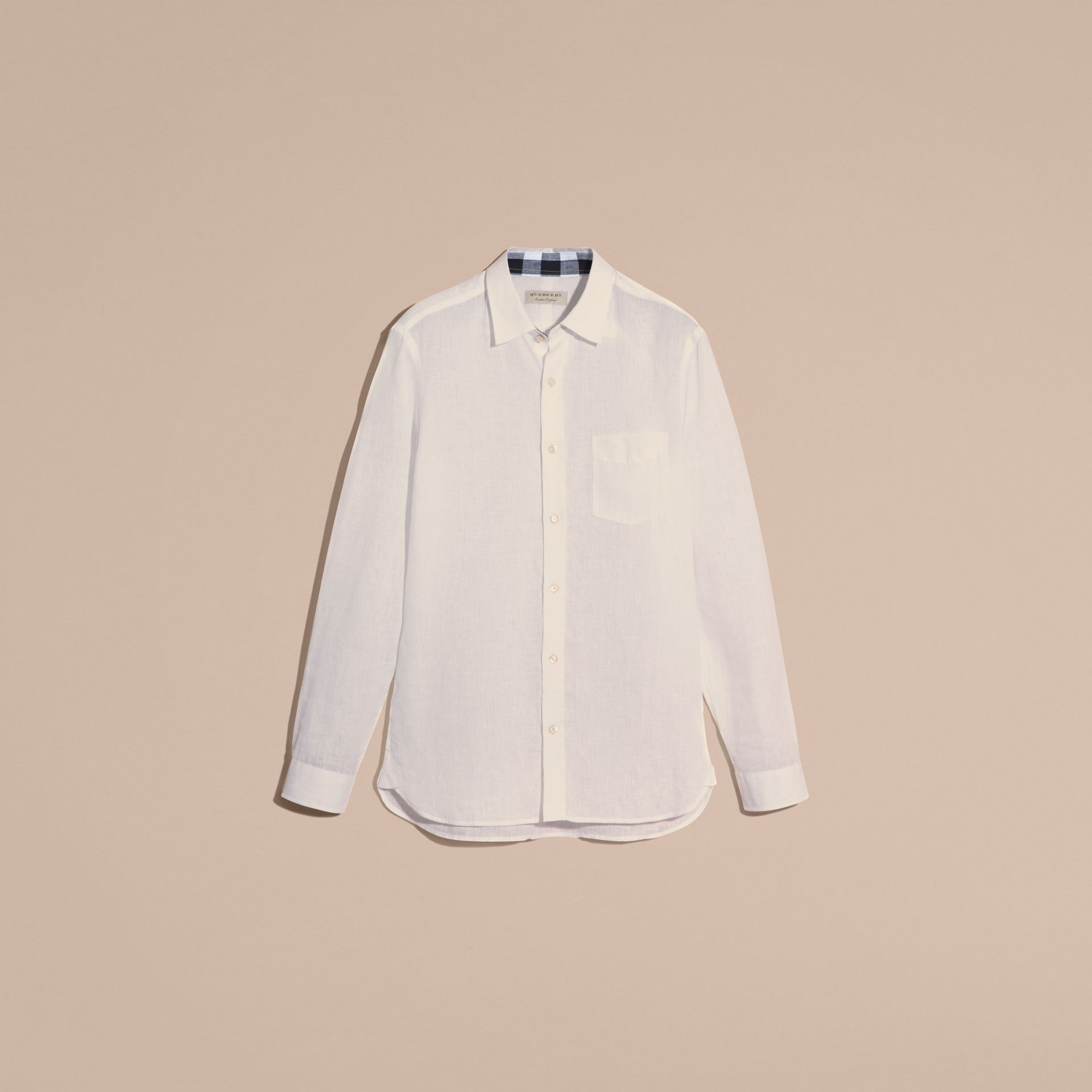 Check Detail Linen Shirt in White - Men | Burberry - gallery image 4