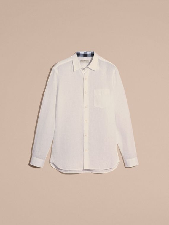 Check Detail Linen Shirt in White - Men | Burberry - cell image 3