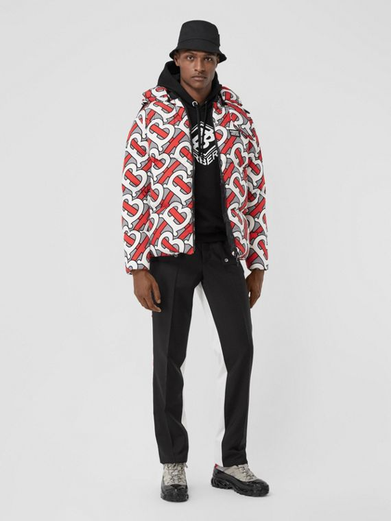 Monogram Print Puffer Jacket in Steel Grey