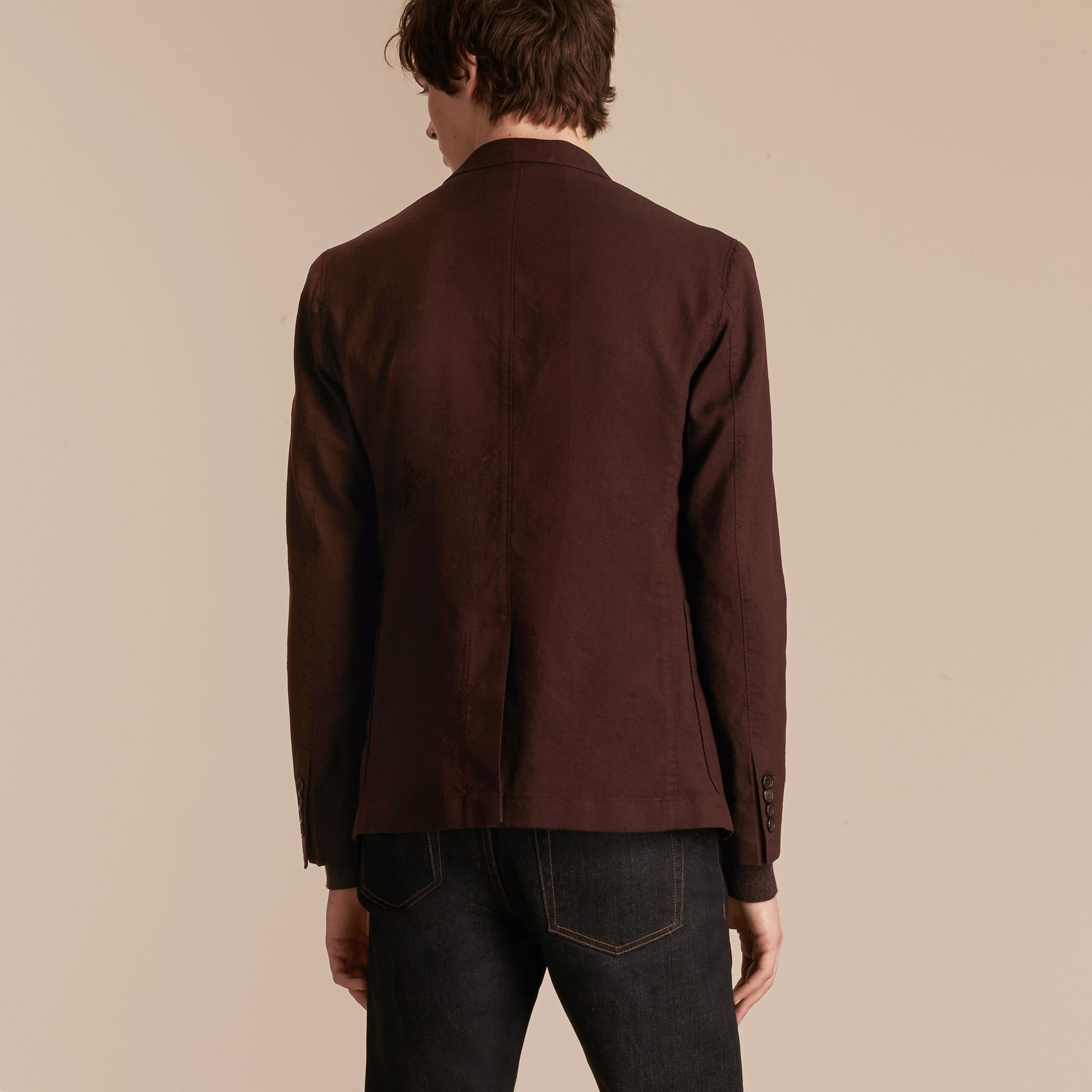 Deep claret Patch Pocket Cotton Wool Blend Tailored Jacket - gallery image 3