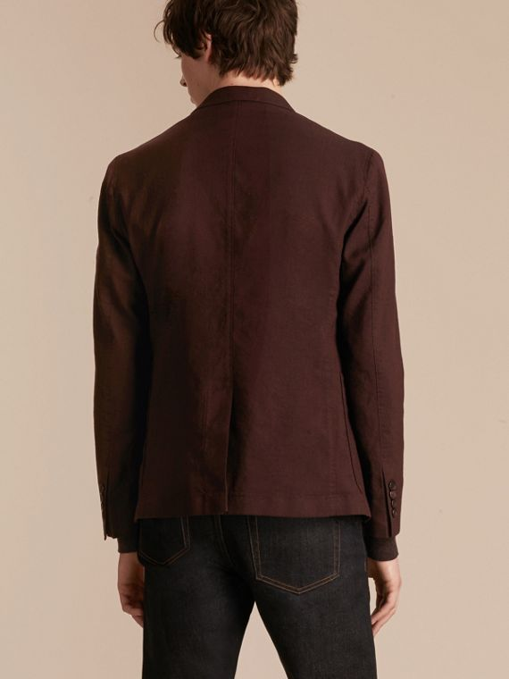 Deep claret Patch Pocket Cotton Wool Blend Tailored Jacket - cell image 2