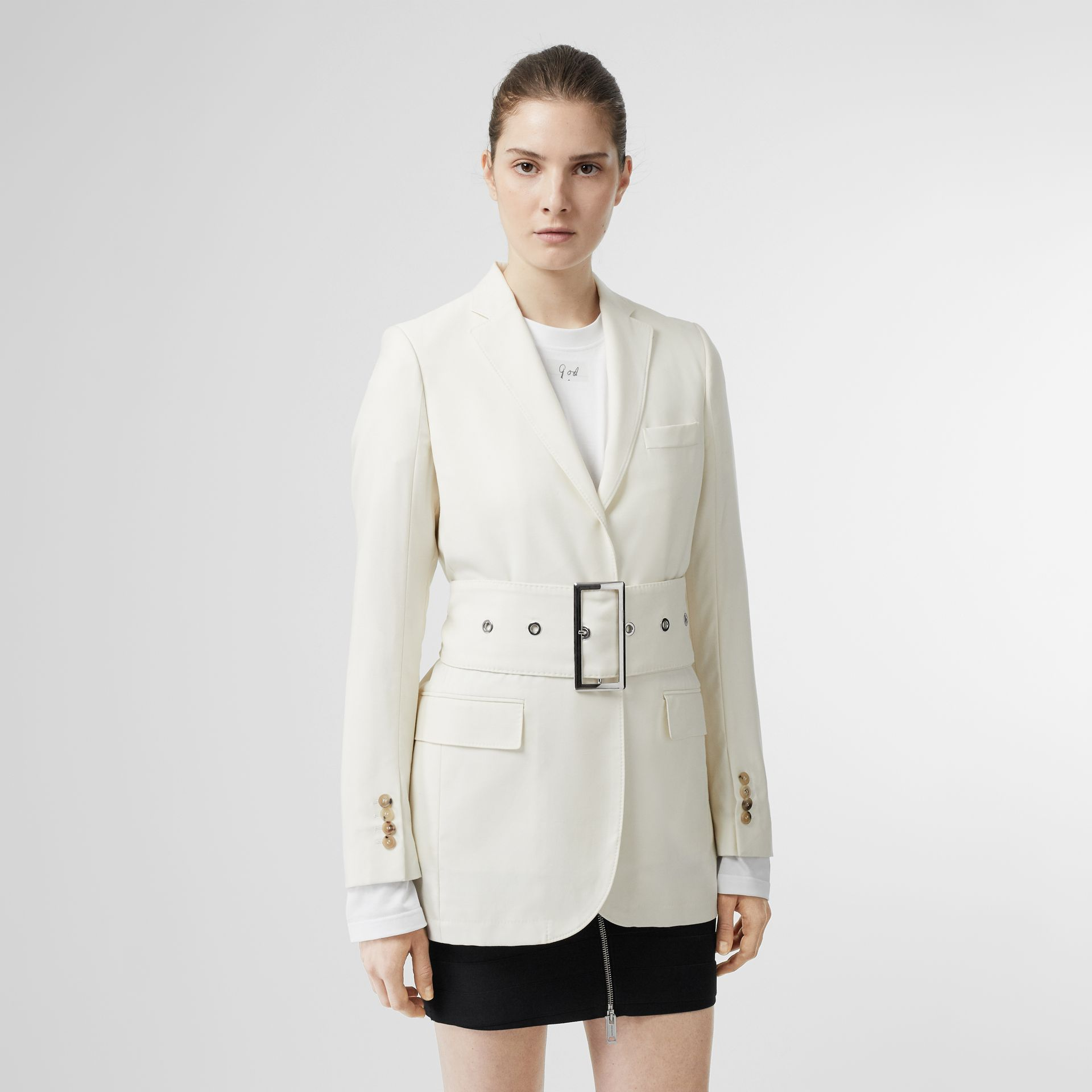Wool Belted Blazer in White - Women | Burberry Singapore - gallery image 4