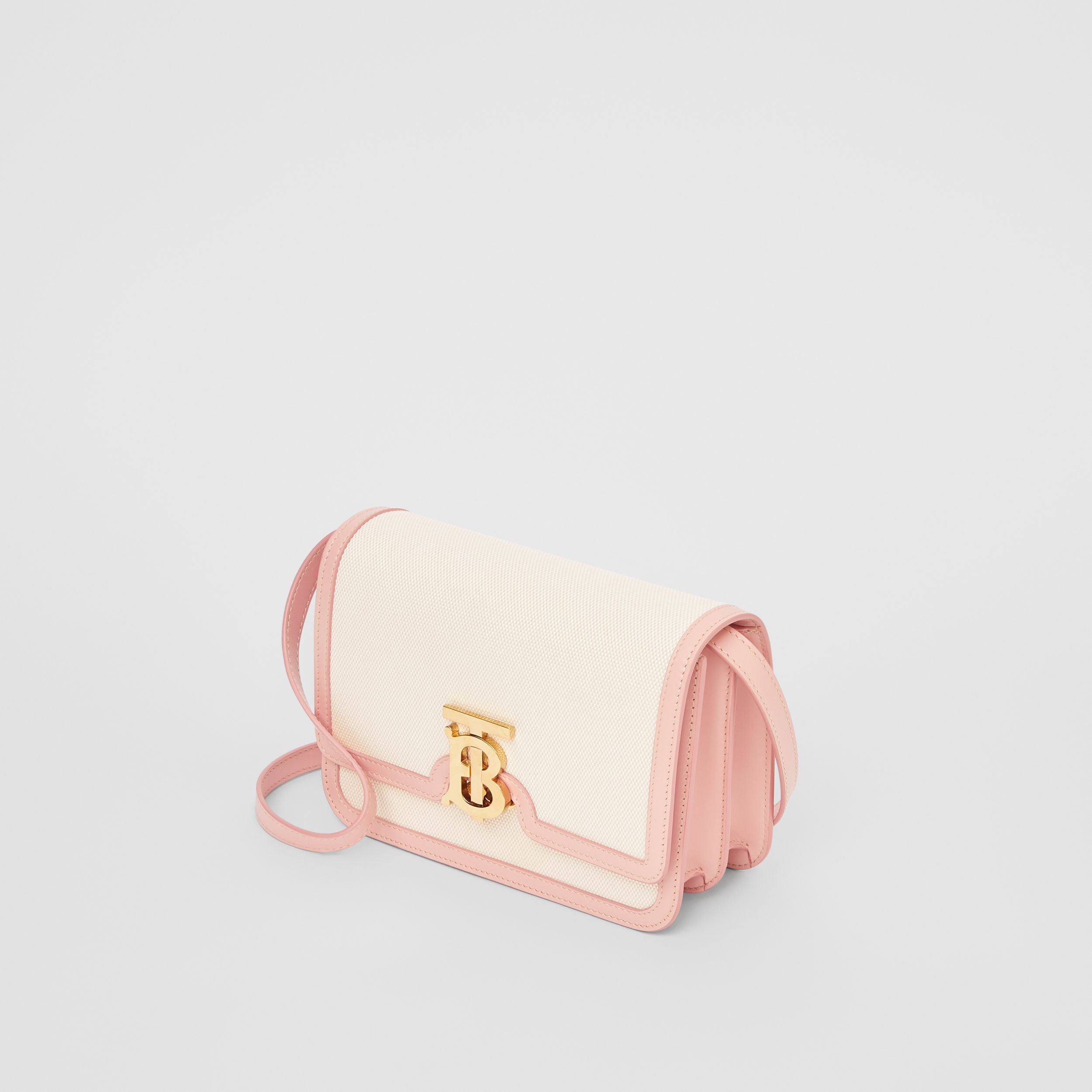 Small Two-tone Canvas and Leather TB Bag in Blush Pink - Women | Burberry United Kingdom - 4