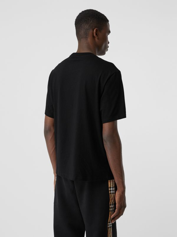 Embroidered Check Logo Cotton T-shirt in Black - Men | Burberry Hong Kong S.A.R - cell image 2