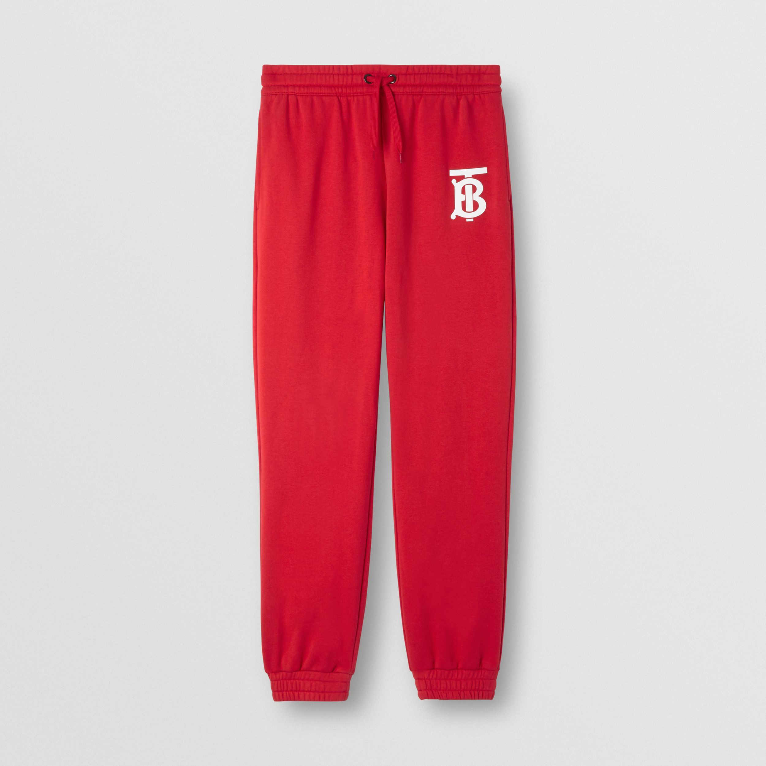 Monogram Motif Cotton Jogging Pants in Bright Red - Men | Burberry - 4