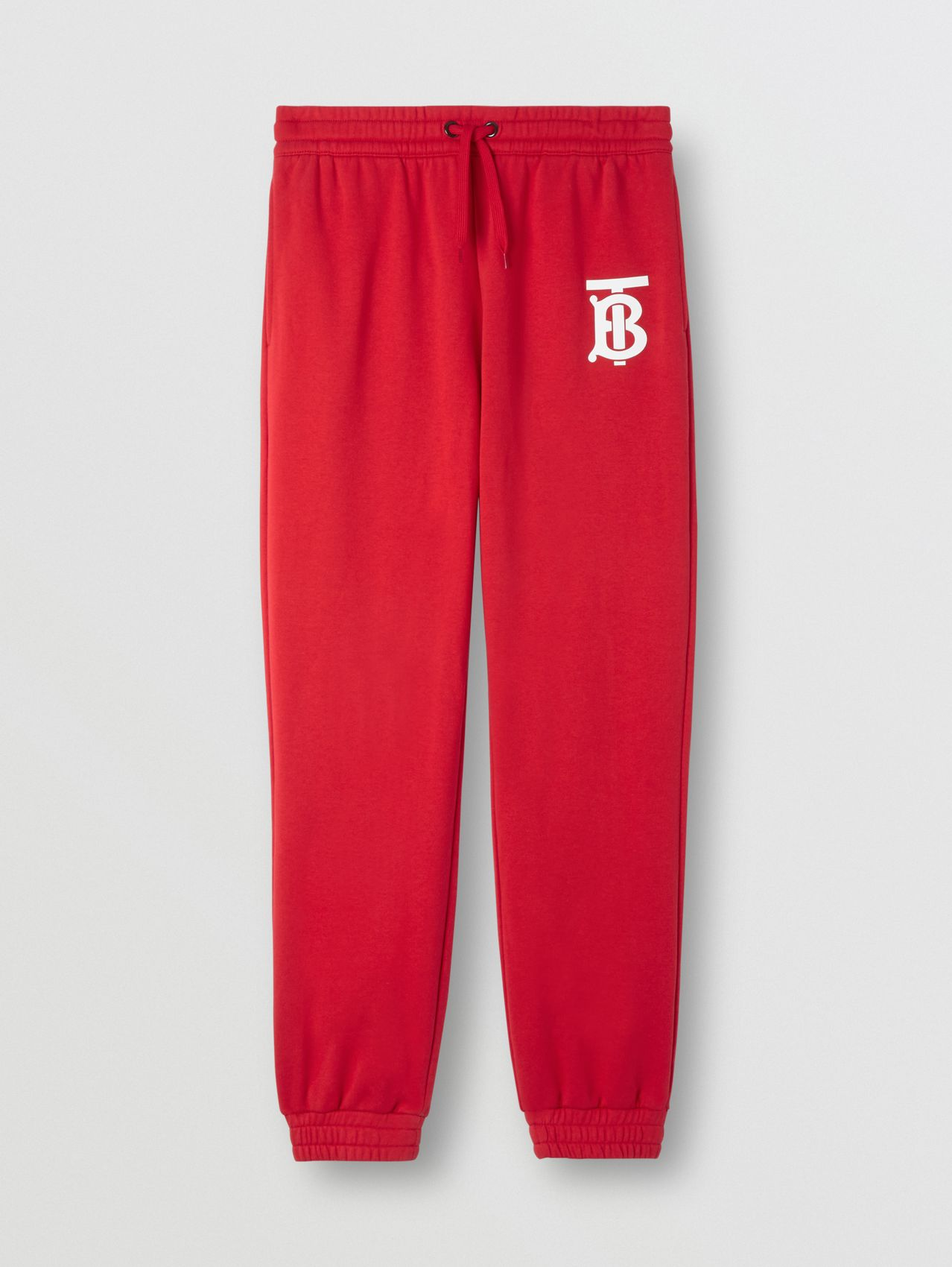 Monogram Motif Cotton Jogging Pants in Bright Red