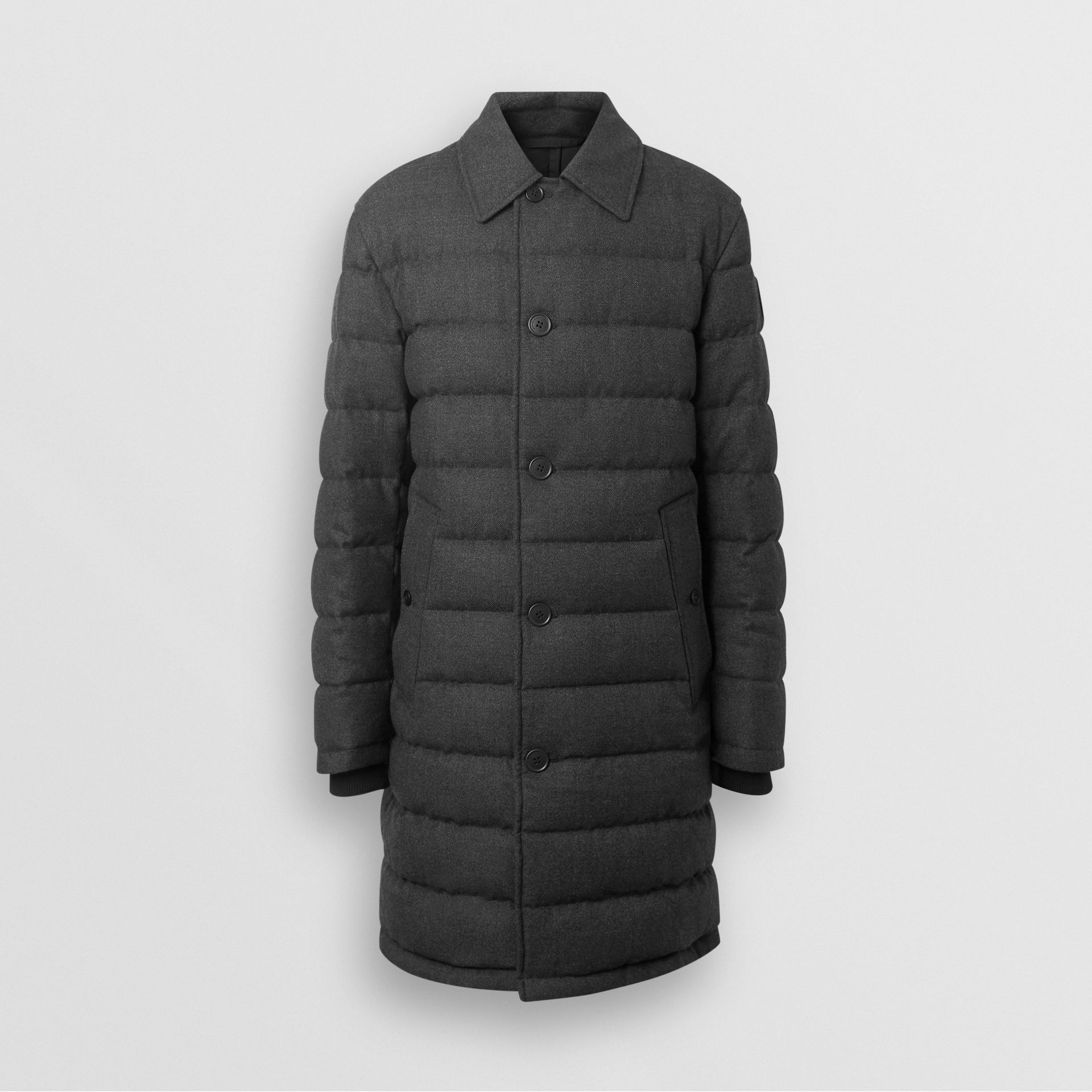 Wool Flannel Down-filled Car Coat in Dark Grey Melange - Men | Burberry United States - gallery image 3