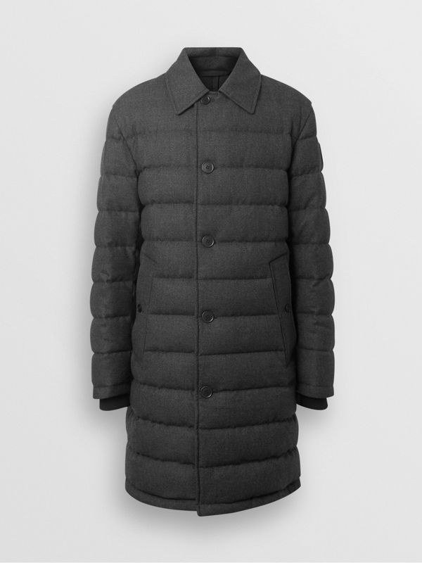 Wool Flannel Down-filled Car Coat in Dark Grey Melange - Men | Burberry - cell image 3