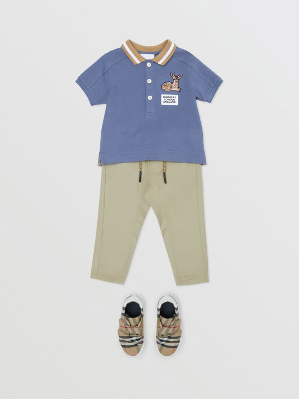 Deer Motif Cotton Polo Shirt in Steel Blue - Children | Burberry - cell image 2