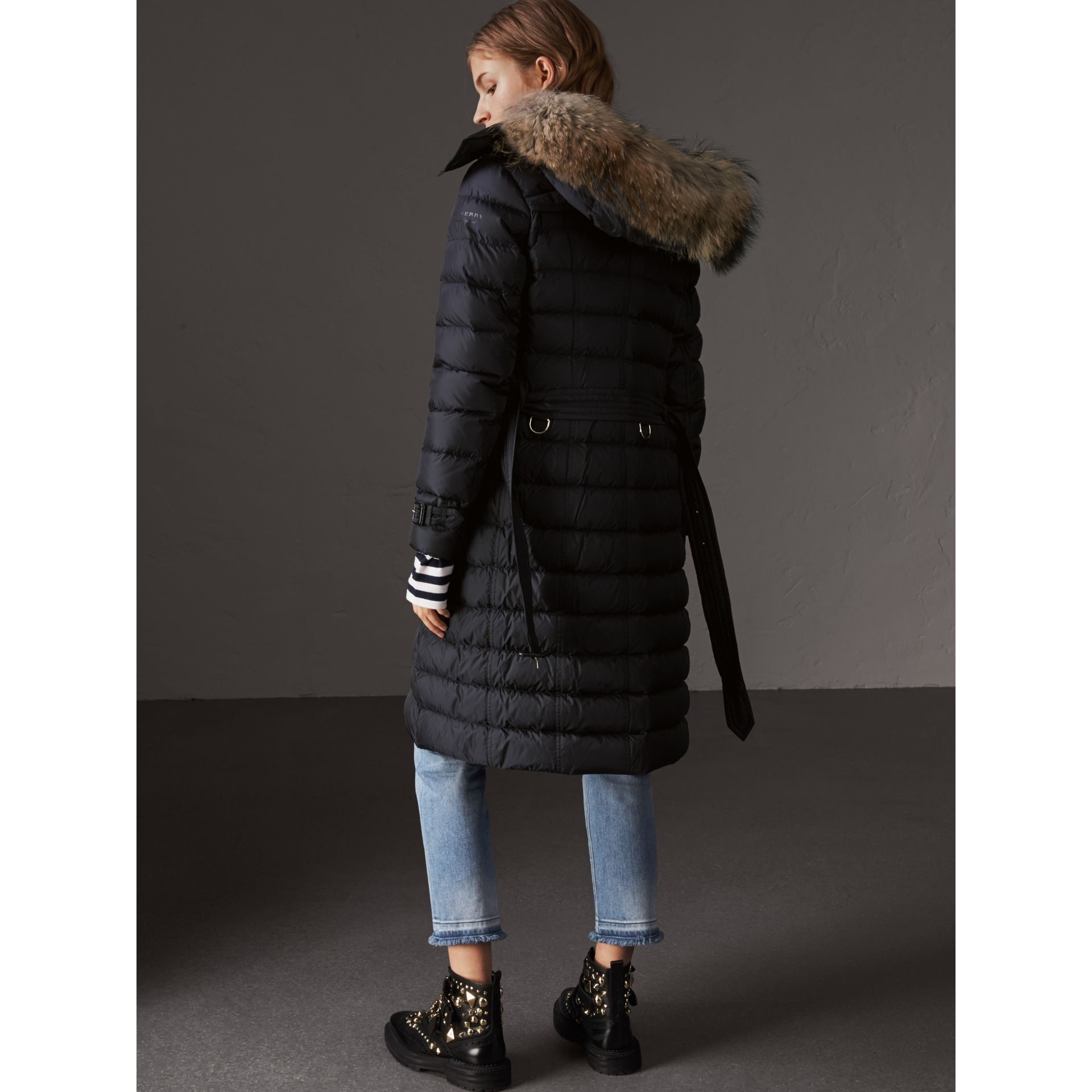 Detachable Hood Fur Trim Down-filled Puffer Coat in Navy - Women | Burberry - gallery image 3
