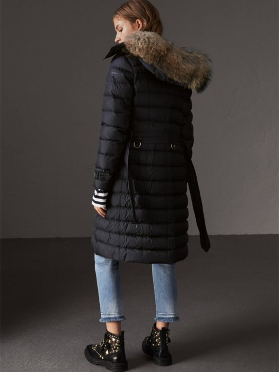 Detachable Hood Fur Trim Down-filled Puffer Coat in Navy - Women | Burberry - cell image 2