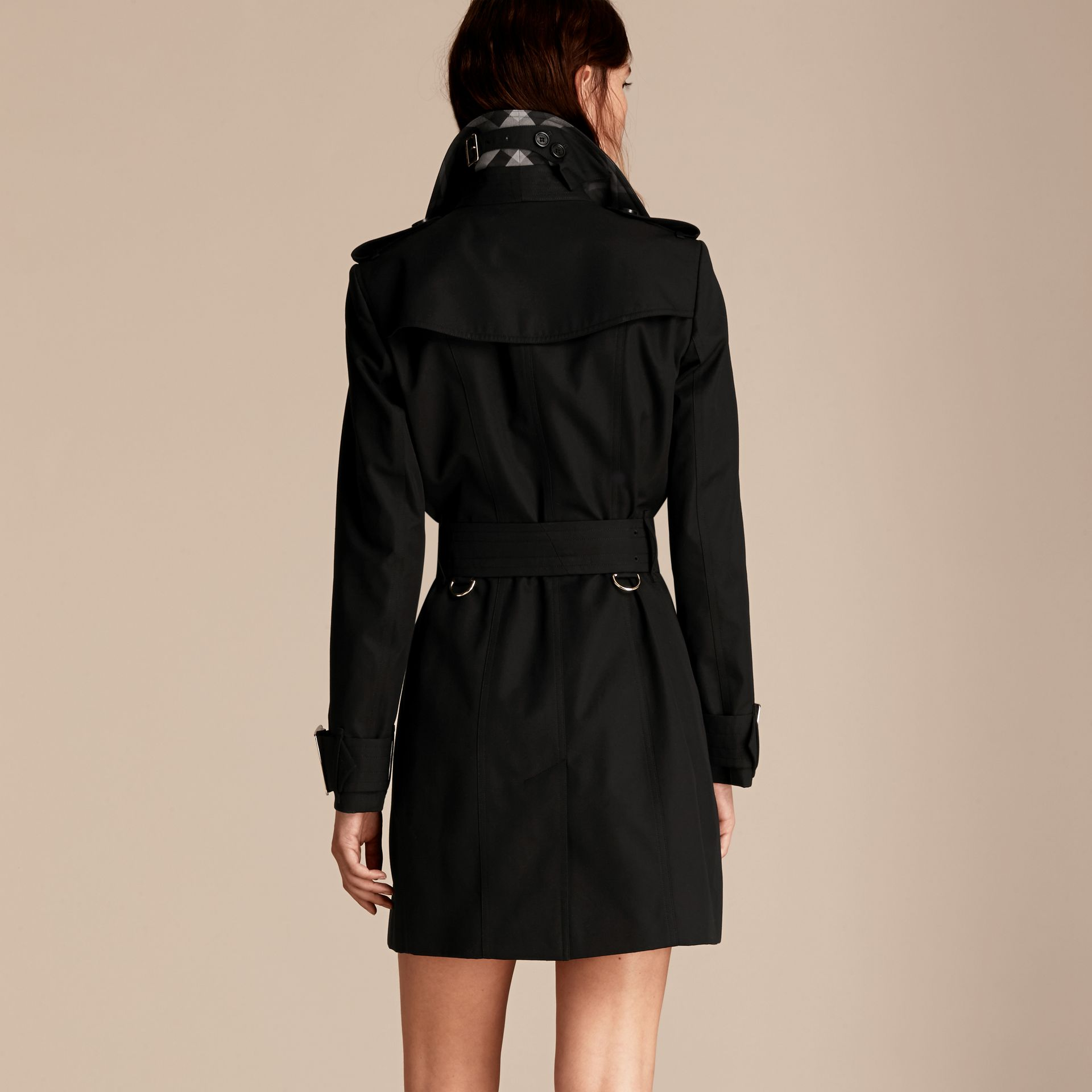 Black Cotton Gabardine Trench Coat with Oversize Buckle Detail Black - gallery image 3