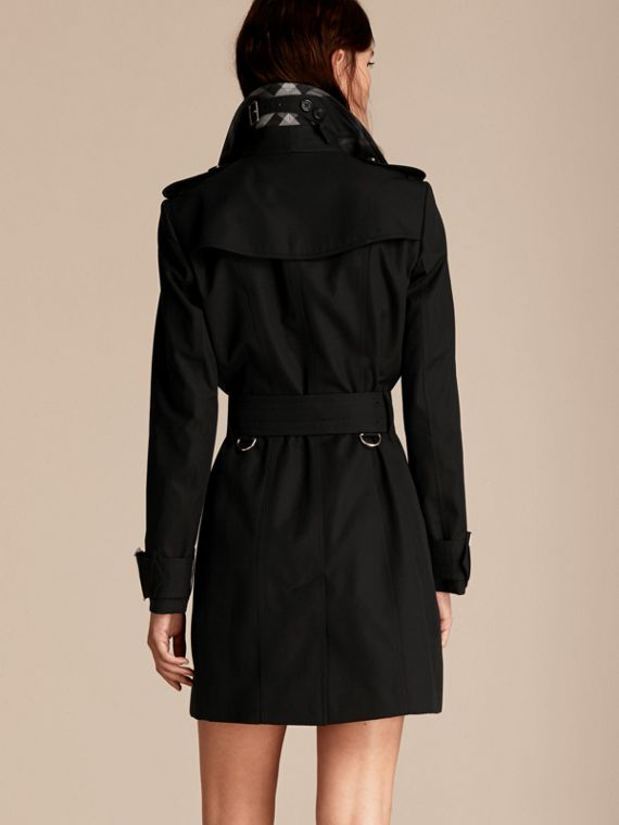 Black Cotton Gabardine Trench Coat with Oversize Buckle Detail Black - cell image 2