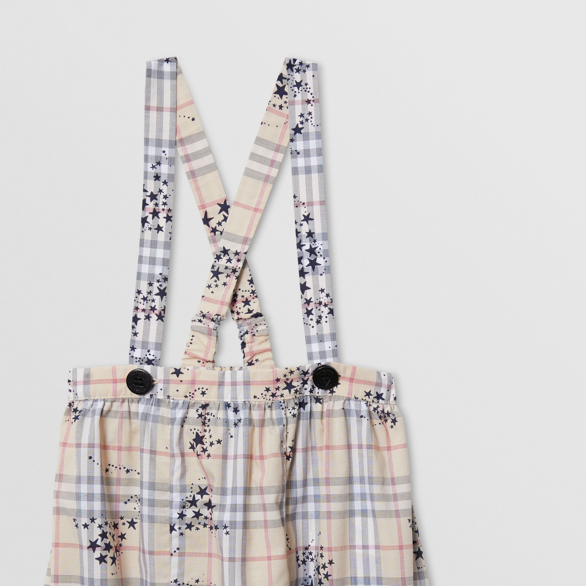 Star Print Check Cotton Two-piece Baby Gift Set in Bright Navy - Children | Burberry - gallery image 4