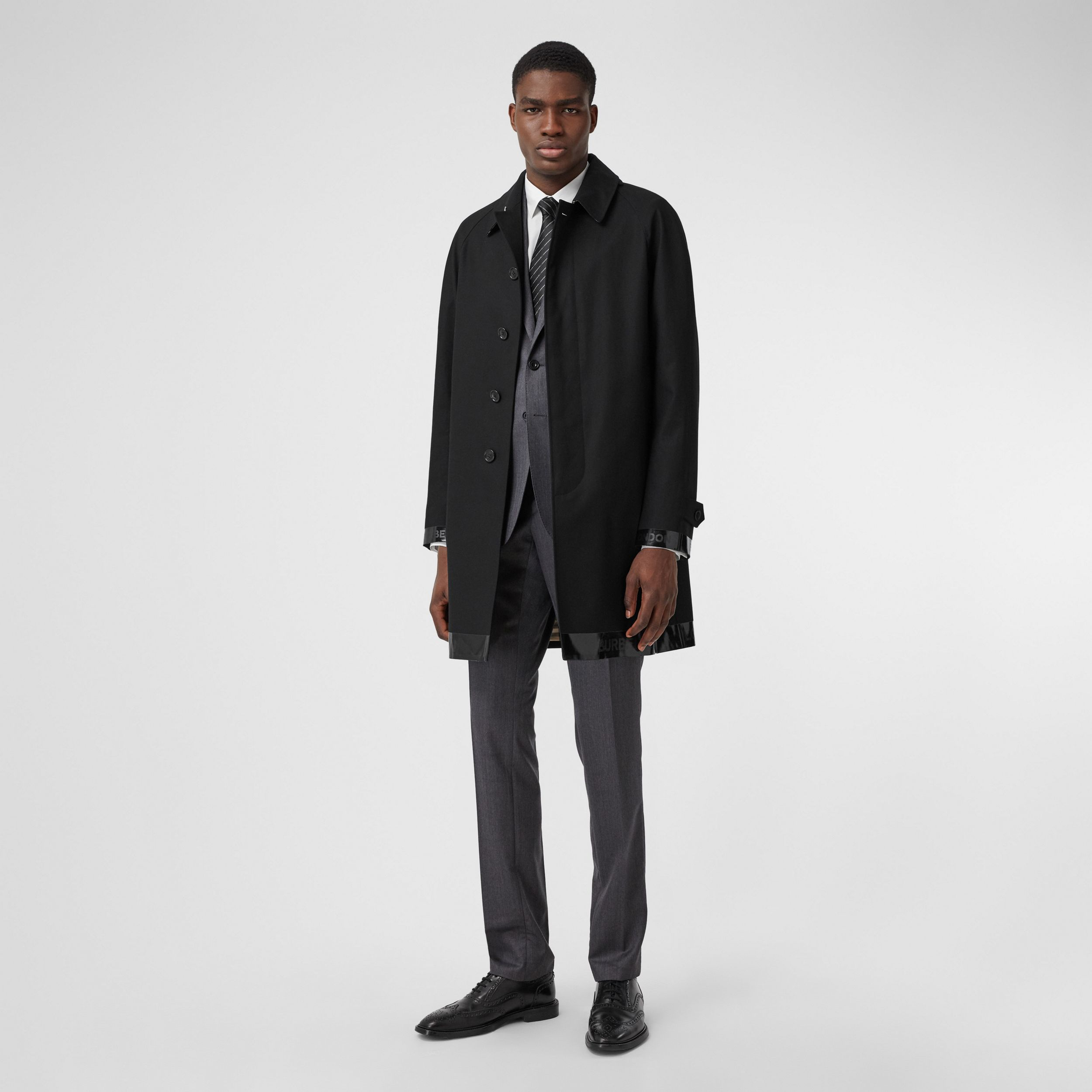 Logo Tape Cotton Car Coat in Black - Men | Burberry United Kingdom - 1