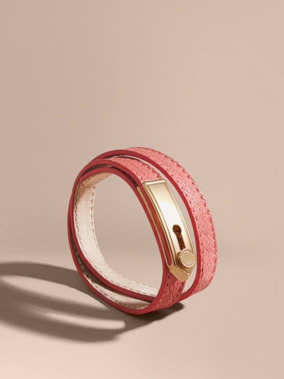 Bracelet double tour en cuir Rose Cuivre
