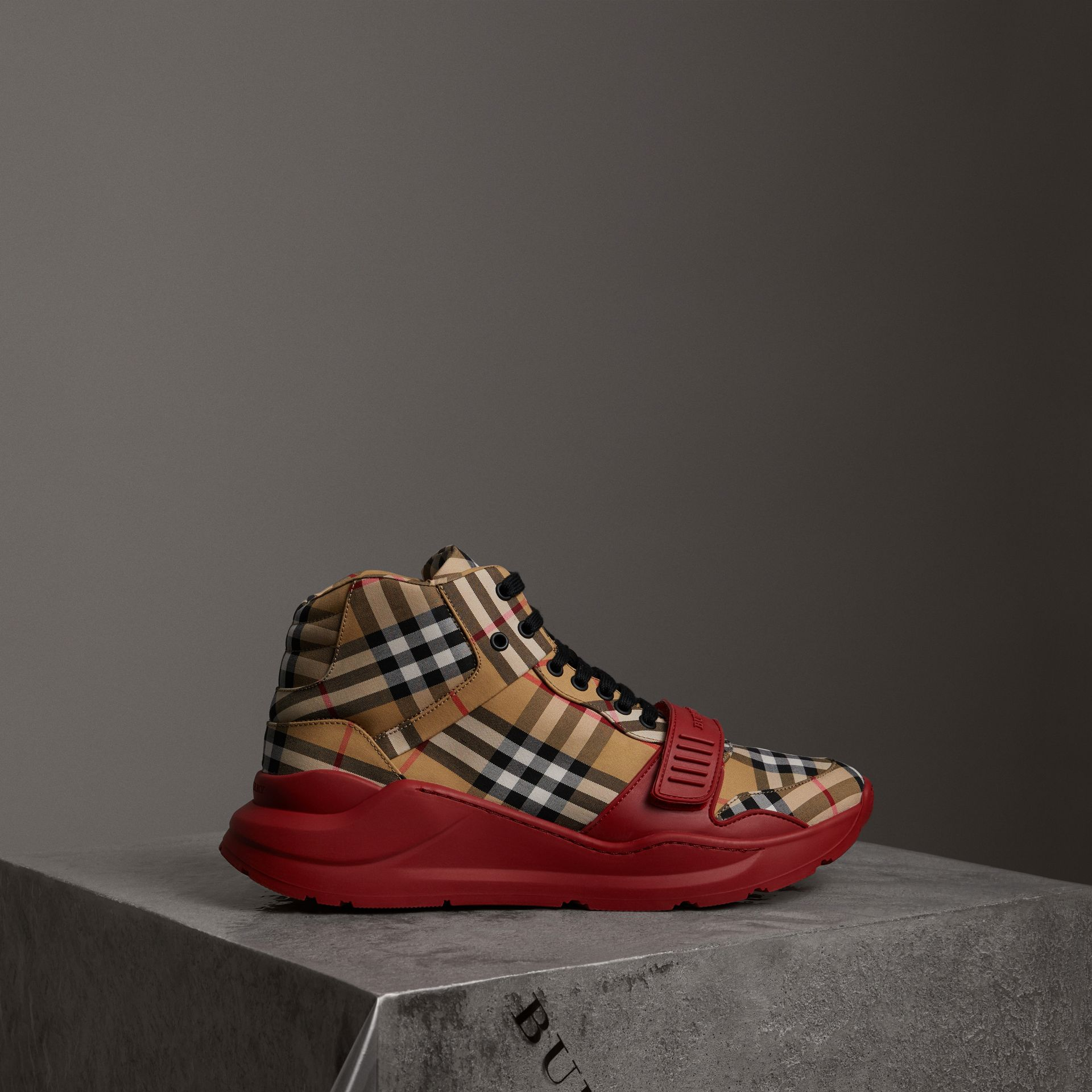 Vintage Check High-top Sneakers in Antique Yellow/military Red | Burberry Australia - gallery image 0
