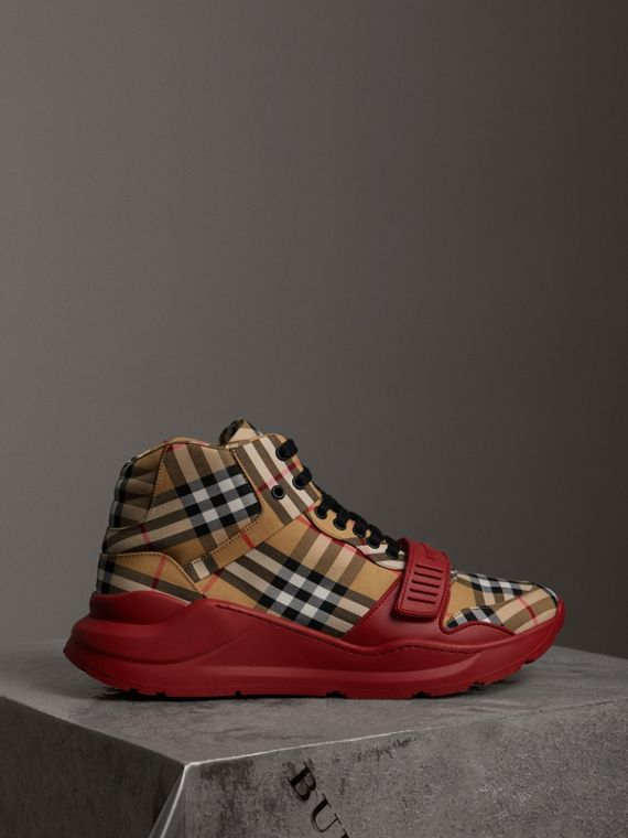 Vintage Check High-top Sneakers in Antique Yellow/military Red