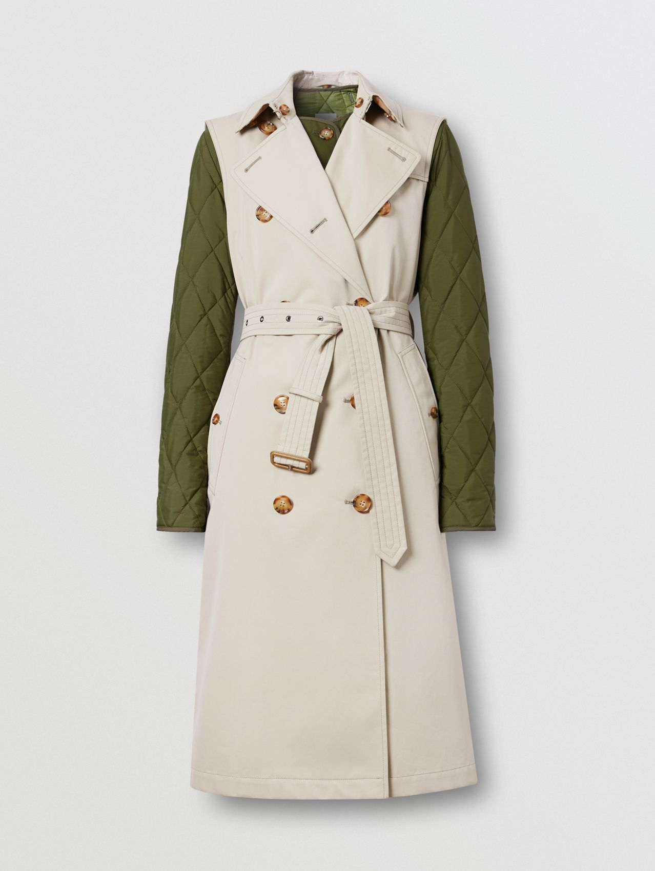 Sleeveless Trench Coat with Detachable Warmer in Stone