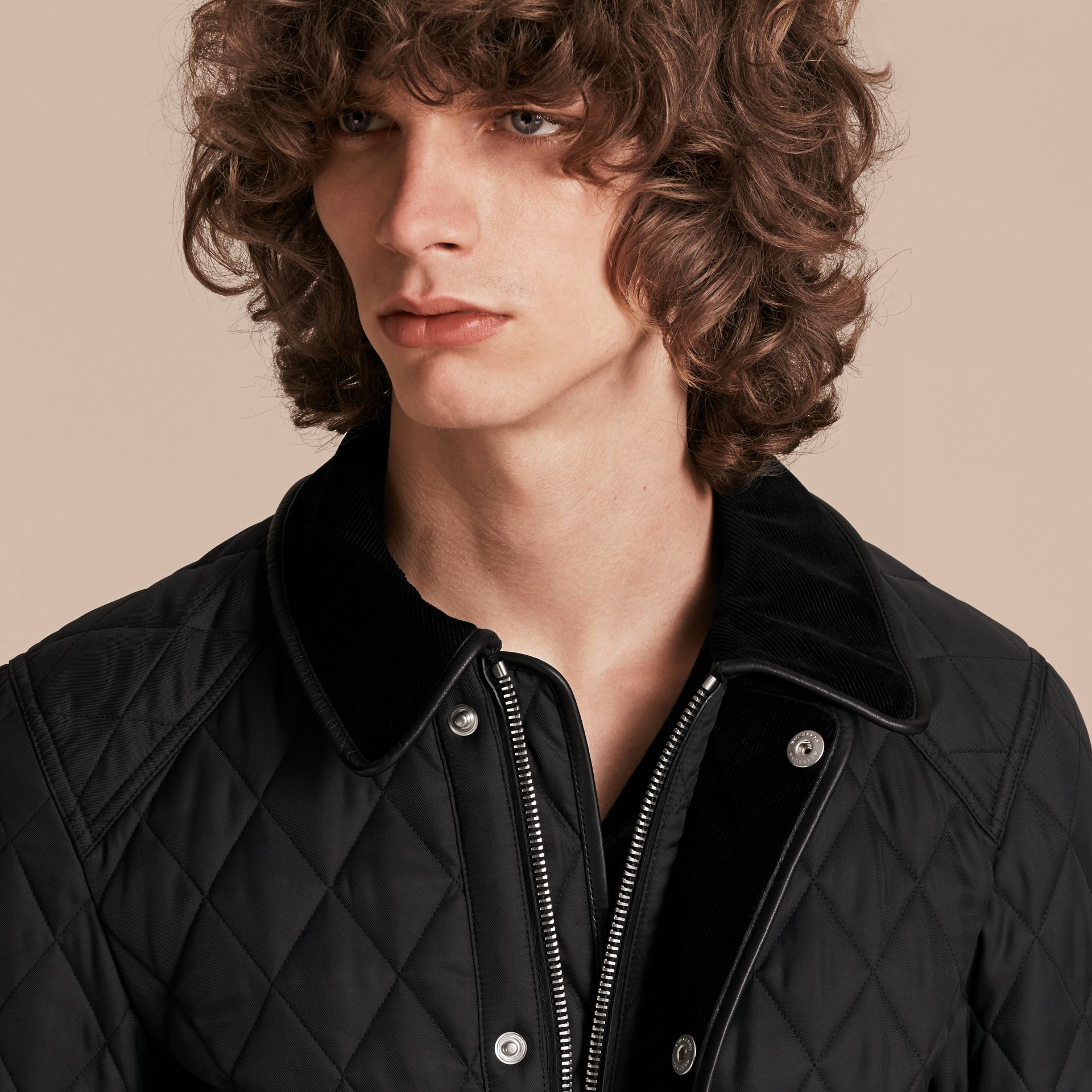 Leather Piping Corduroy Collar Quilted Jacket Black - gallery image 6