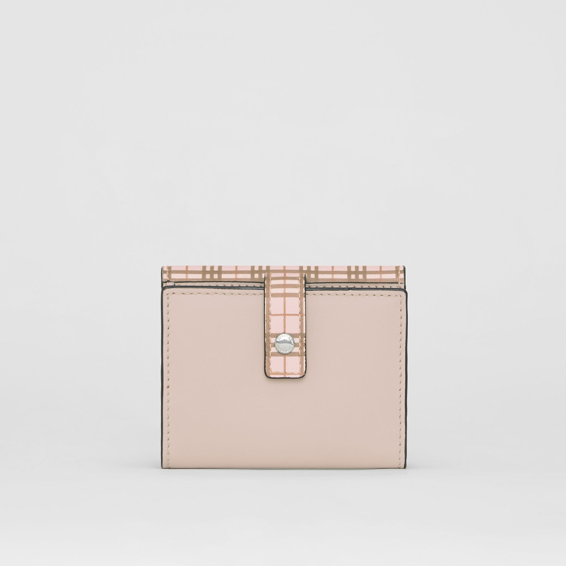 Small Scale Check and Leather Folding Wallet in Ice Pink - Women | Burberry Australia - gallery image 2