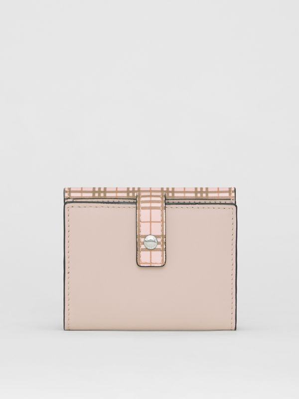 Small Scale Check and Leather Folding Wallet in Ice Pink - Women | Burberry Australia - cell image 2