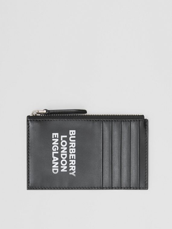 Logo Print Leather Zip Card Case in Black