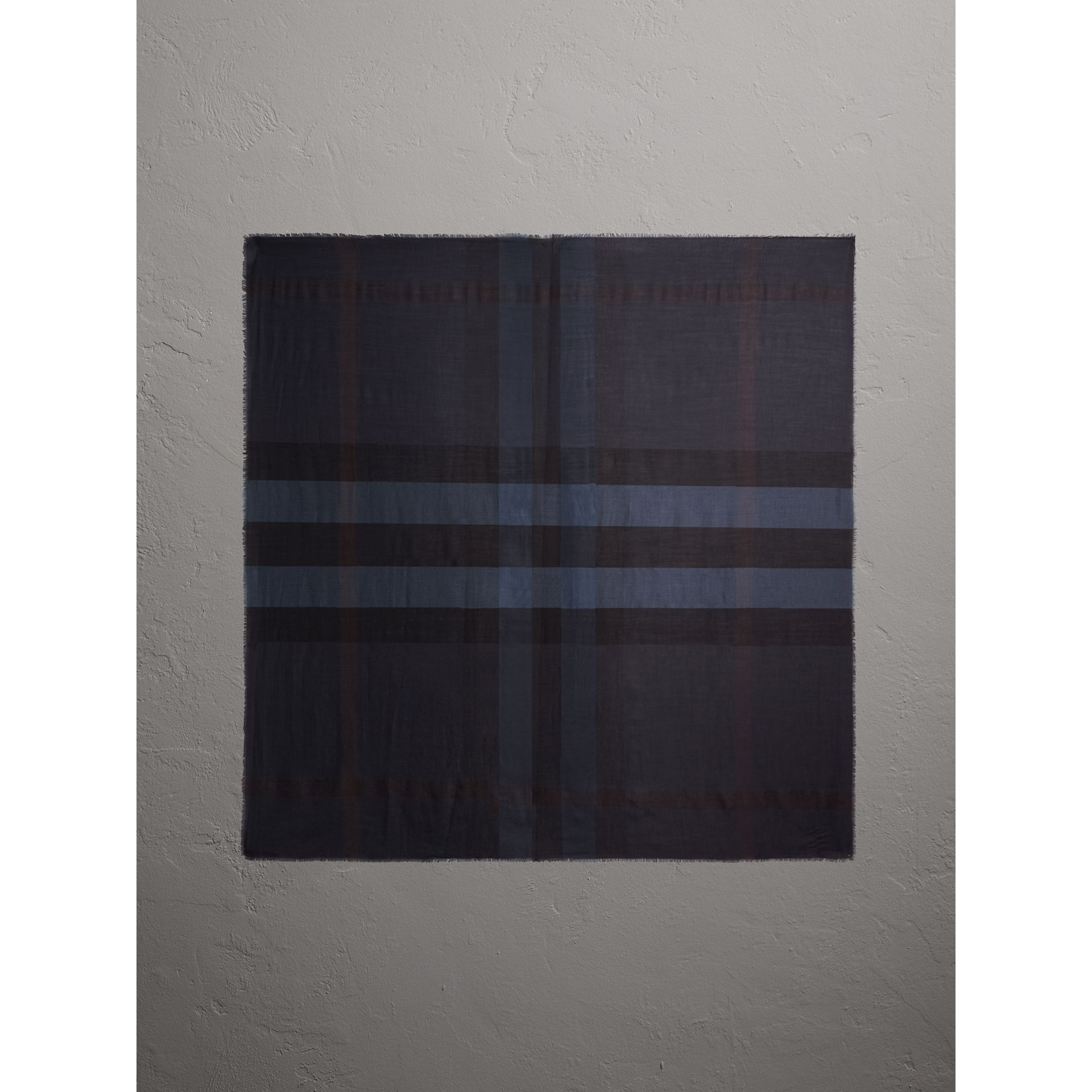 Large Lightweight Check Silk Modal Wool Square Scarf in Navy - Men | Burberry - gallery image 5
