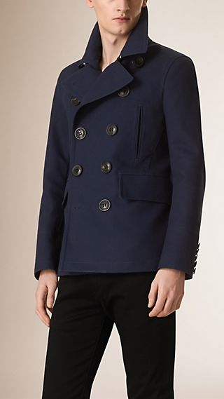Button Detail Showerproof Bonded Cotton Pea Coat