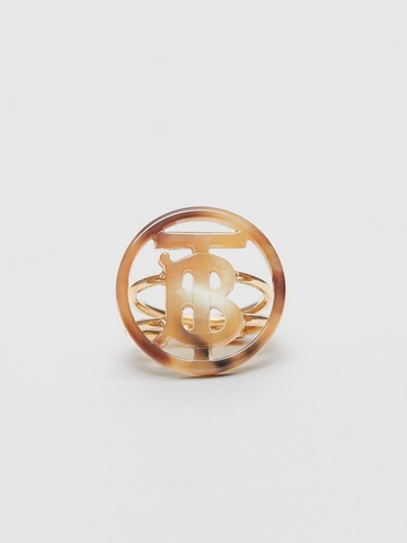 Resin and Gold-plated Monogram Motif Ring in Light Gold/horn