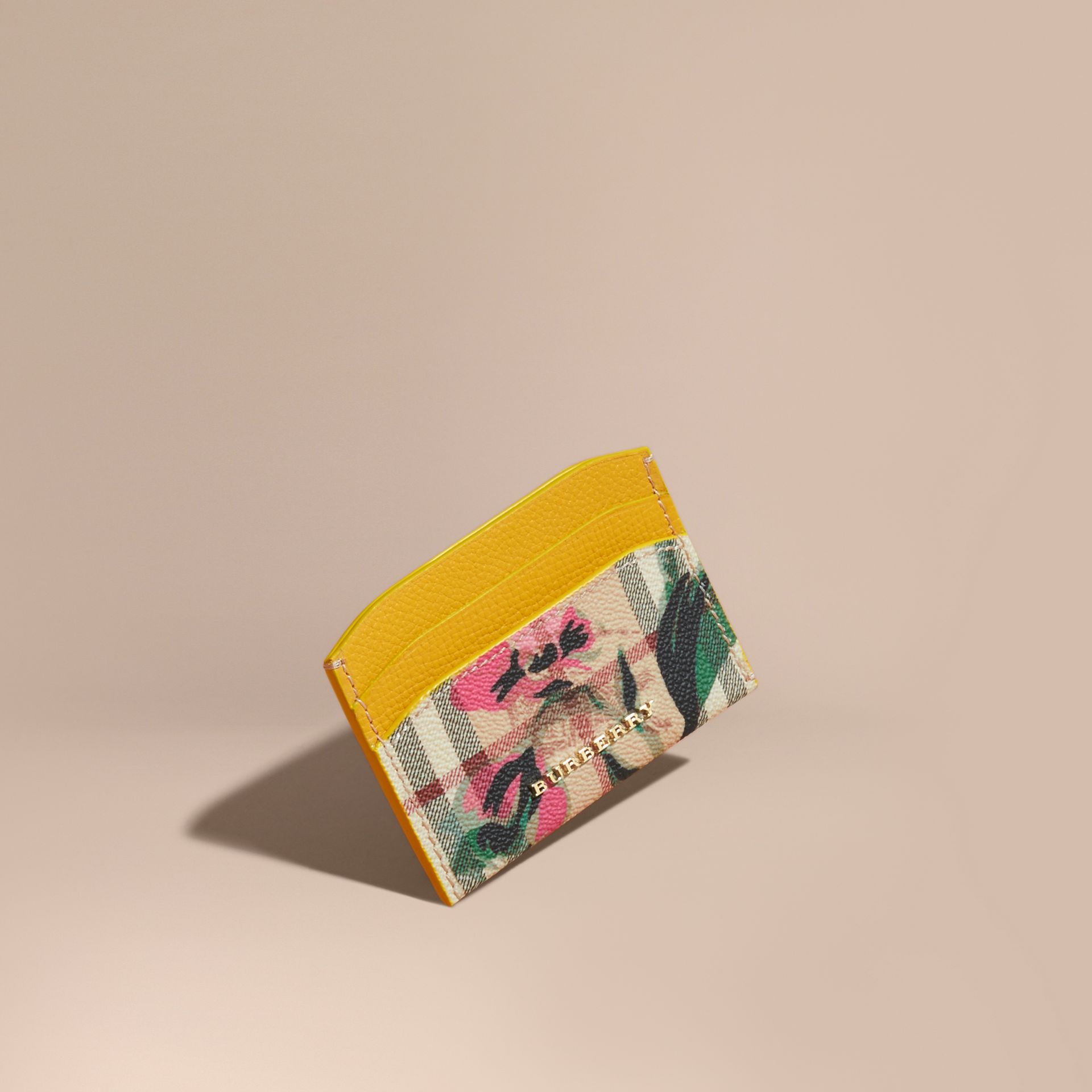 Peony Rose Print Haymarket Check and Leather Card Case in Larch Yellow/emerald Green - gallery image 1