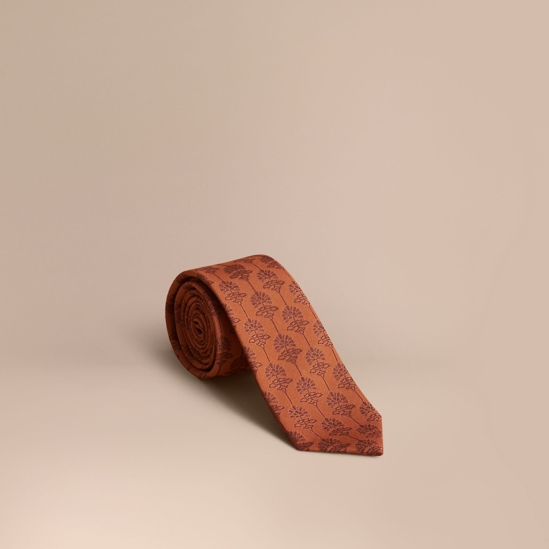 Slim Cut Floral Jacquard Silk Cotton Tie in Russet - Men | Burberry - gallery image 1