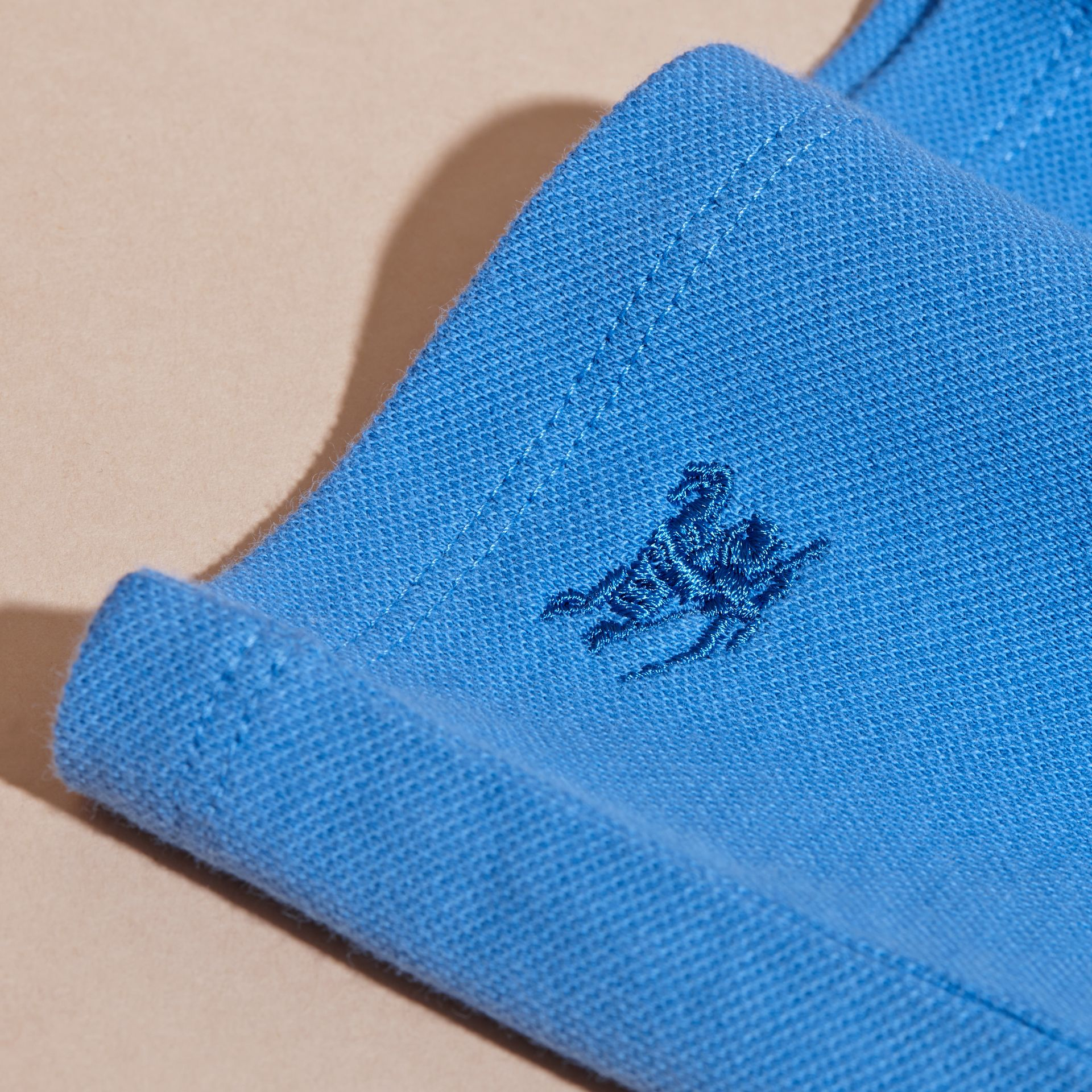 Peter Pan Collar Cotton Piqué Polo Shirt in Hydrangea Blue - gallery image 2