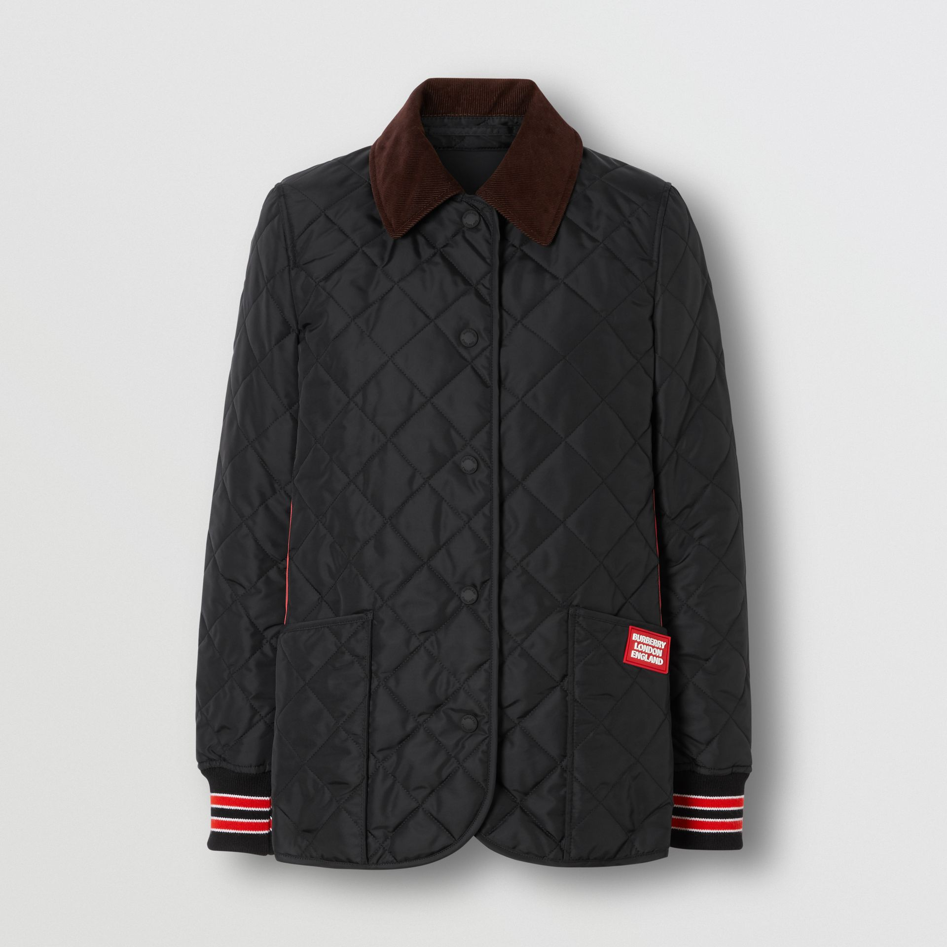 Striped Trim Diamond Quilted Barn Jacket in Black - Women | Burberry United Kingdom - gallery image 3