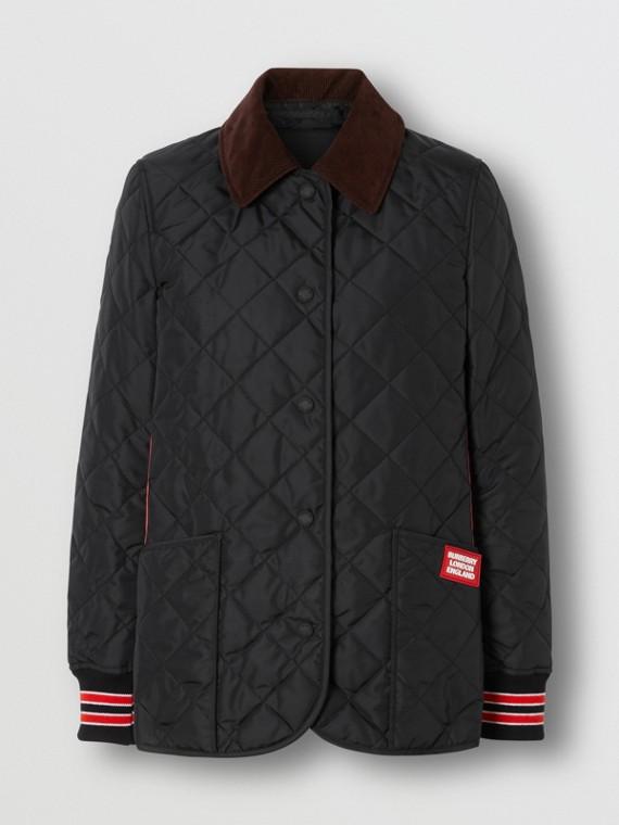 Veste de campagne matelassée avec bordures rayées (Noir)