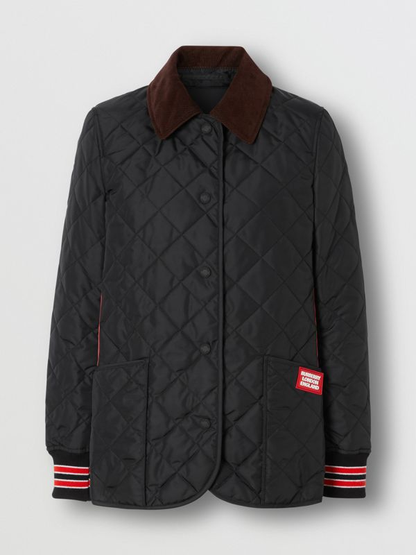 Striped Trim Diamond Quilted Barn Jacket in Black - Women | Burberry - cell image 3