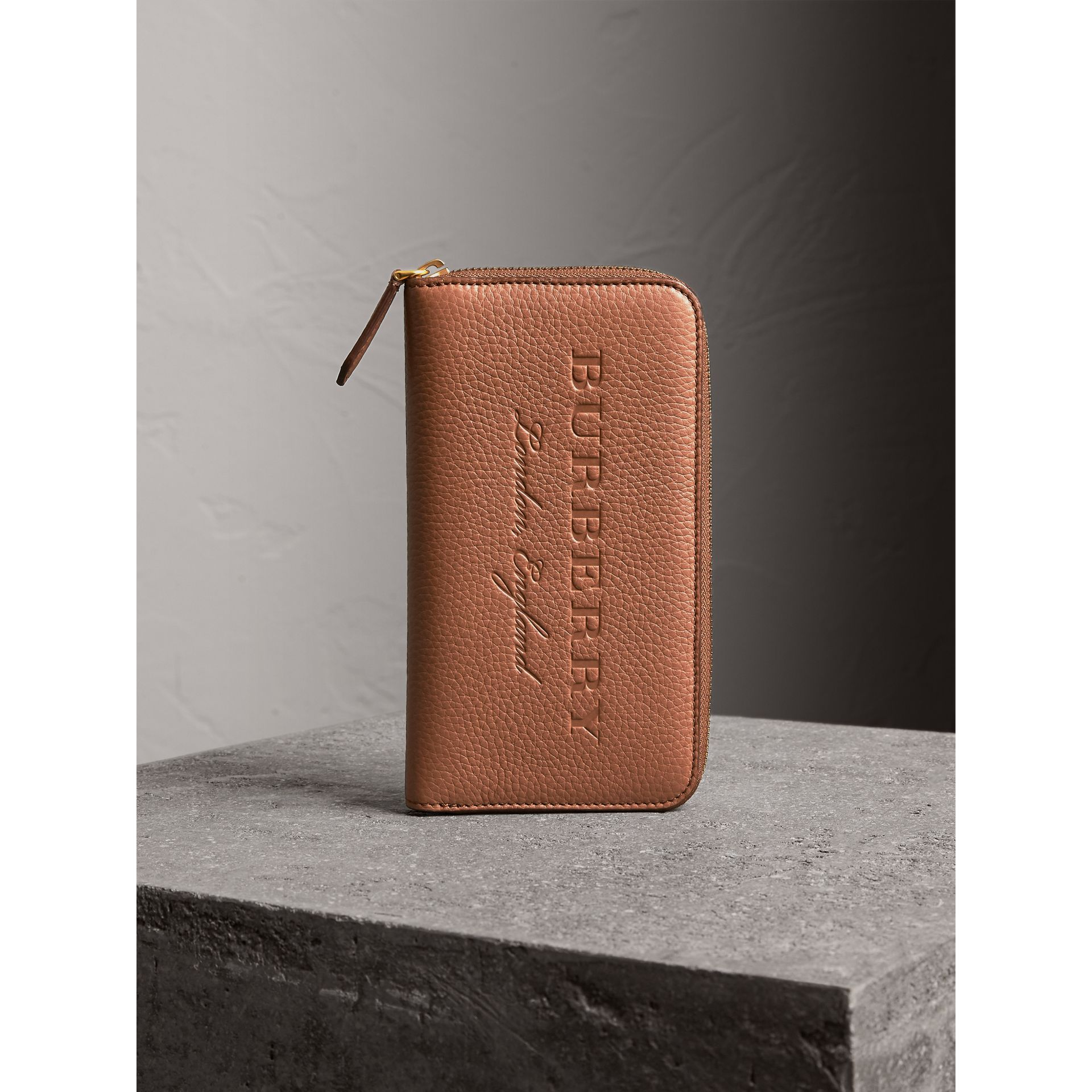 Embossed Grainy Leather Ziparound Wallet in Chestnut Brown - Men | Burberry United Kingdom - gallery image 5