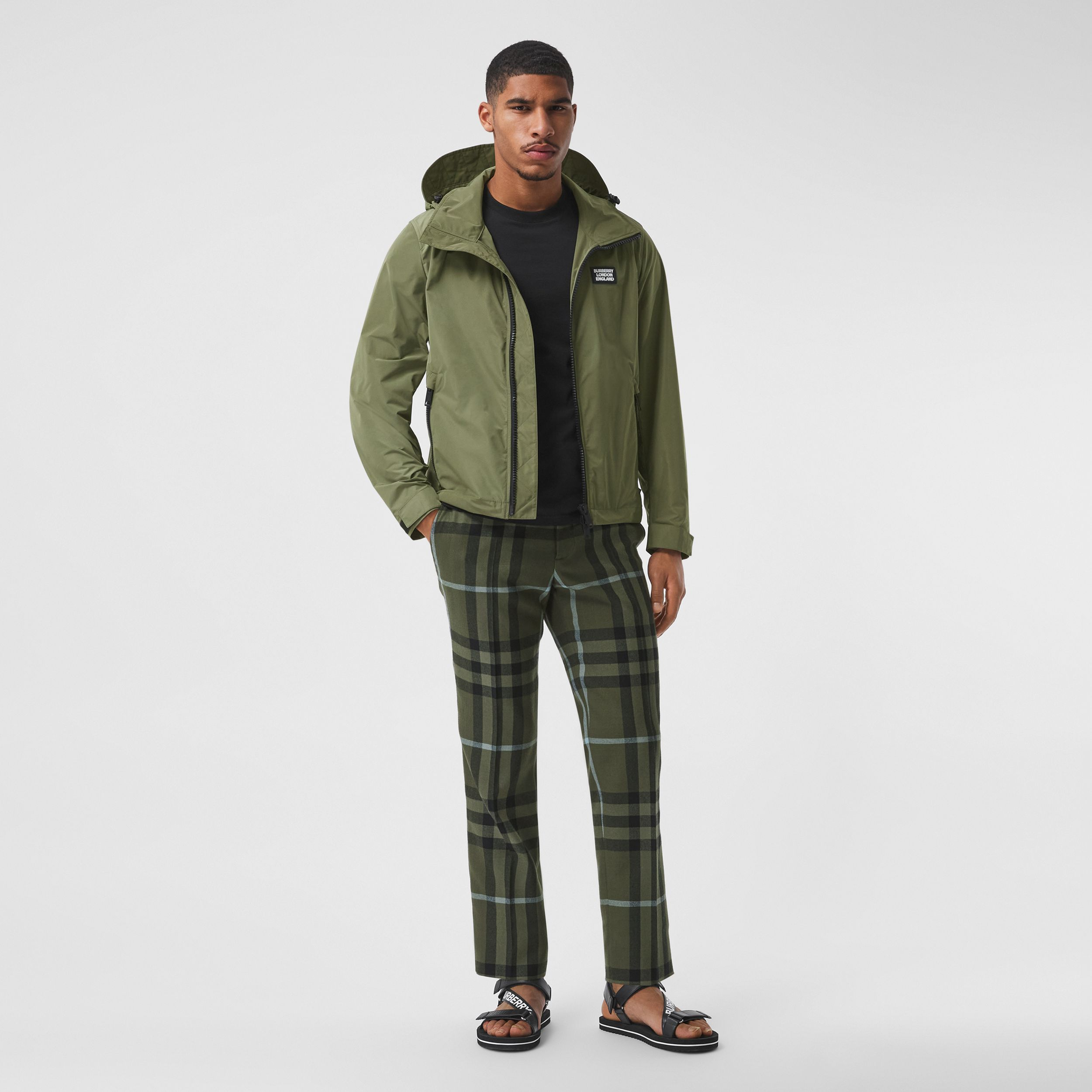 Packaway Hood Shape-memory Taffeta Jacket in Olive - Men | Burberry - 1